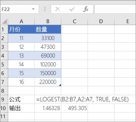 示例 1-- LOGEST 函数