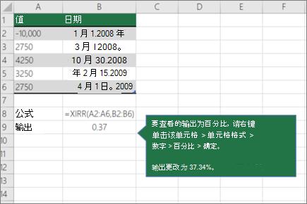 XIRR 函数的示例