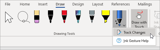 """为墨迹编辑器笔选择""""修订""""。"""