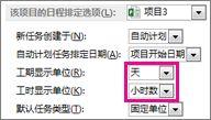 """""""选项""""对话框、""""该项目的日程排定选项""""区域"""