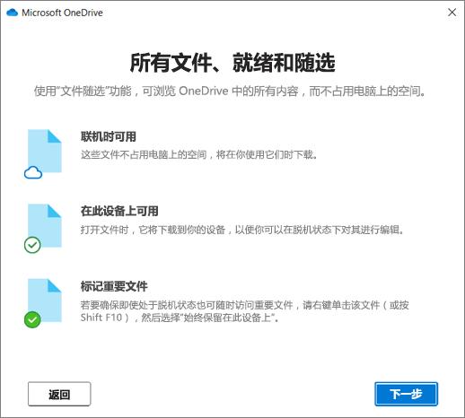 """""""欢迎使用 OneDrive""""向导中""""文件按需""""屏幕"""