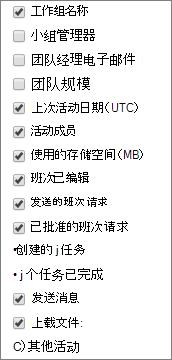 StaffHub 团队活动报表-选择列。