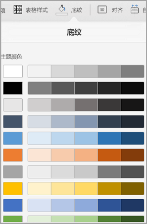 iPad 表格底纹选项
