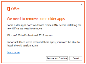 Error message prompting to remove older apps