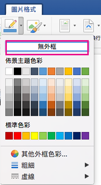 在 [圖片框線] 功能表上醒目提示 [無外框]。