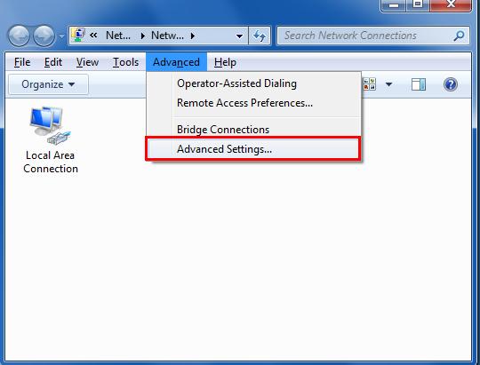 Press theALT key, click Advanced Options and then click Advanced Settings...