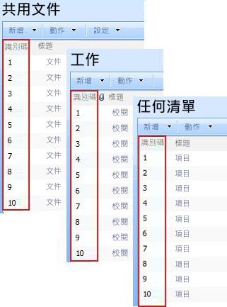 在各種 SharePoint 清單中出現的識別碼欄