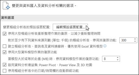 從 [檔案] > [選項] > [資料] 中編輯預設樞紐分析表版面配置