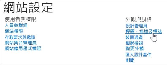 已選取 [標題]、[描述]、[標誌] 的網站設定