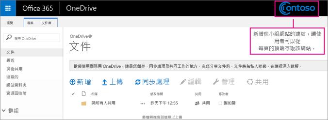 在每個頁面的頂端新增小組網站連結,讓使用者可以輕鬆存取