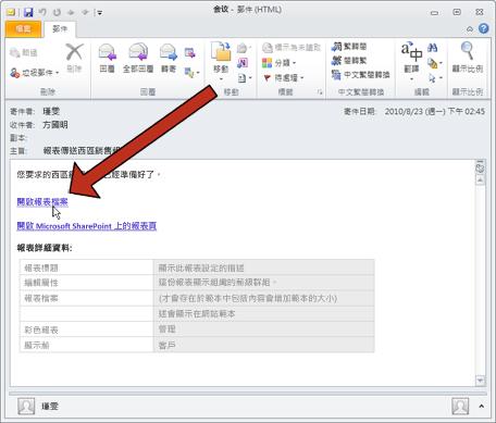 當 Duet 遞送報表時,會傳送電子郵件通知訊息。