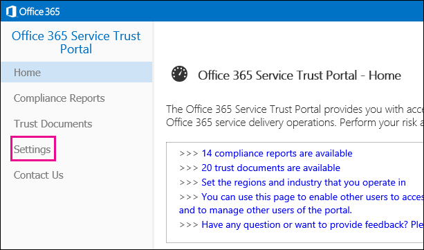 顯示服務信任功能表,左側醒目提示 [設定] 選項。