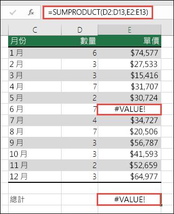 因為欄 E 中 #VALUE! 錯誤,所以儲存格 E15 中的公式顯示了 #VALUE! 錯誤。