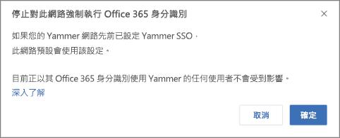 螢幕擷取畫面顯示在 Yammer 中停止強制執行 Office 365 身分識別用的確認對話方塊。其指出如果 Yammer SSO 之前設定為重新啟動,就會重新啟動,但平常以 Office 365 身分登入 Yammer 的使用者將不受影響。