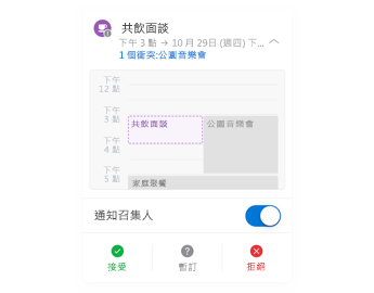 頂端是迷你行事曆,中間是 [註解] 區段,底端是 [回覆] 按鈕的會議邀請