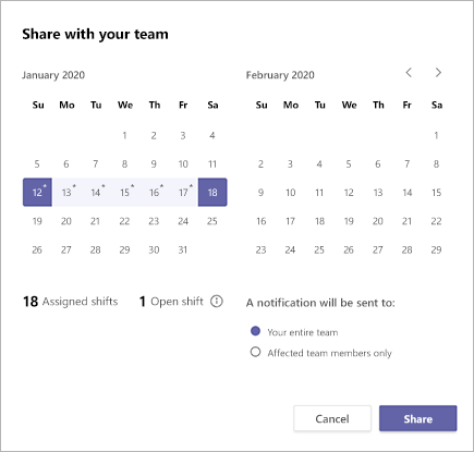 在班次中共用Microsoft Teams排程