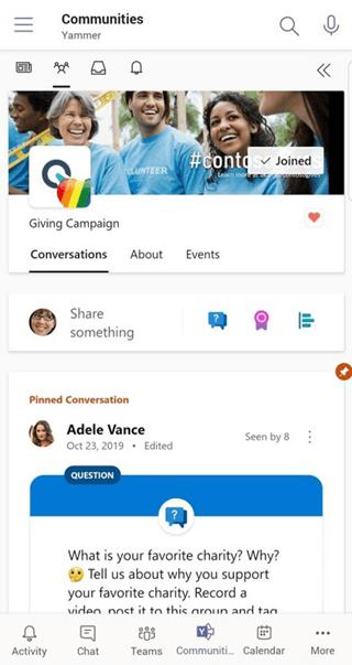 在 Yammer 行動版上使用 Teams 的交談應用程式