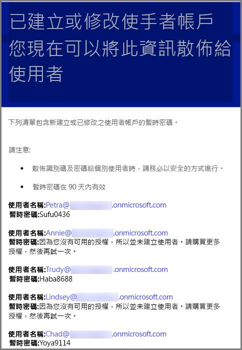 含使用者認證資訊的範例電子郵件
