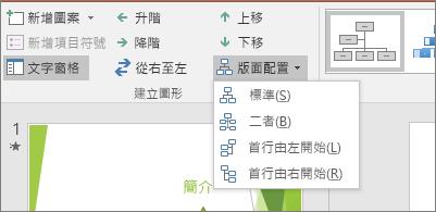 顯示 SmartArt 工具中的 [版面配置] 選項