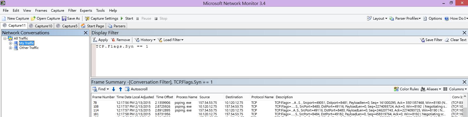 來自於用戶端的 Netmon 追蹤,透過篩選器 TCP.Flags.Syn == 1 顯示相同的 PSPing 命令。