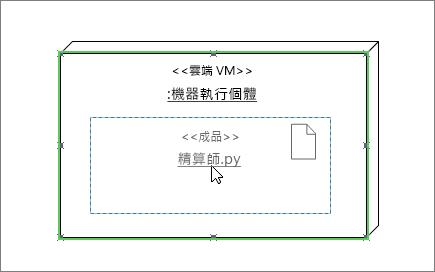 拖曳頂端節點實例圖形以綠色醒目提示的成品圖形