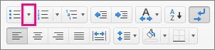 按一下項目符號圖示旁邊的箭號以選取或新增項目符號。