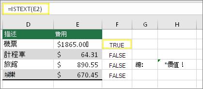 儲存格 F2 為 =ISTEXT(E2) 且結果為 TRUE