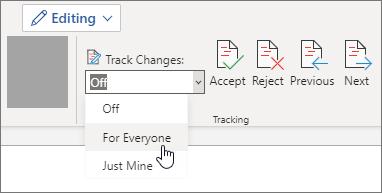 開啟每個人的追蹤修訂。