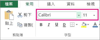 Excel 功能區上的字型選項