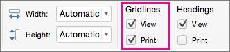 在 [版面配置] 索引標籤的 [格線] 底下,選取 [列印]