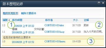 顯示主要版本、次要版本和註解的版本歷程記錄