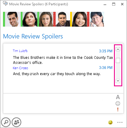 醒目提示右側滑動列以瀏覽記錄的聊天室螢幕擷取畫面