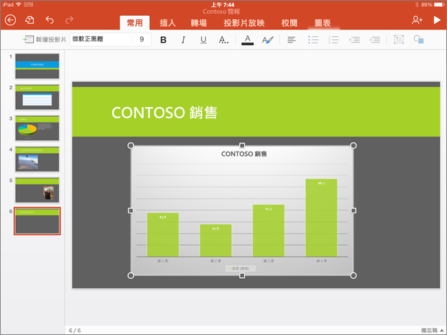 貼上 PowerPoint for iPad 的圖表