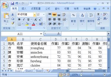 包含本文所用學生資訊與成績的工作表。