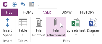 在筆記中插入檔案做為附件