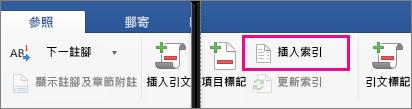 畫面上醒目提示 [參照] 索引標籤的 [插入索引]