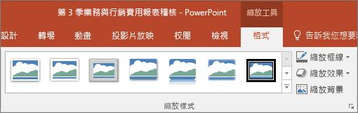 在 PowerPoint 中顯示您能在 [格式] 索引標籤內選擇的不同縮放樣式及效果。
