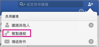 若要將文件連結複製到剪貼簿,請按一下 [複製連結]。