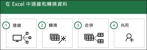 Power Query 步驟: 1) 連線,2) 轉換,3) 合併,4) 共用