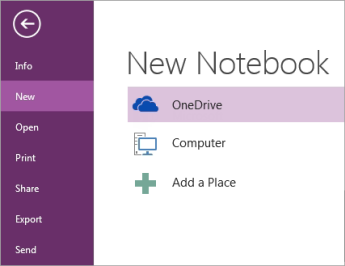 OneNote 中的新增筆記本程序