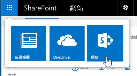 醒目提示 SharePoint App 啟動器中的網站。
