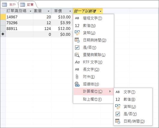 使用 [導出欄位] 資料類型新增欄位