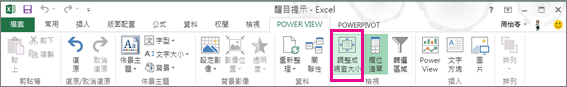Power View 大小調整
