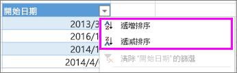 使用遞增或遞減順序排序。