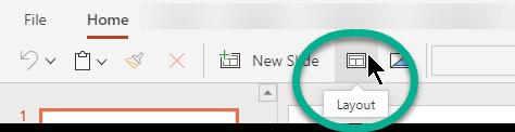 網頁版 PowerPoint [常用] 索引標籤上的 [版面配置] 按鈕。