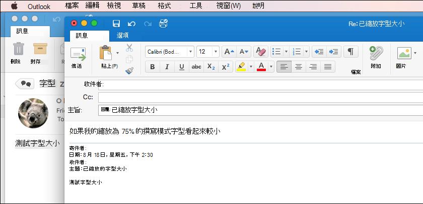 Mac 版 Outlook 字型大小