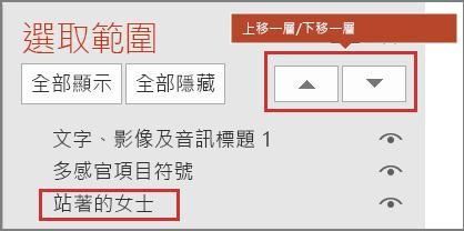 PowerPoint 使用者介面,顯示 [選取窗格] 中的項目,以及 [上移一層]/[下移一層] 按鈕。