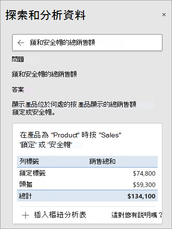 Excel 中的 [構想] 解答有關鎖和安全帽銷售量的問題。