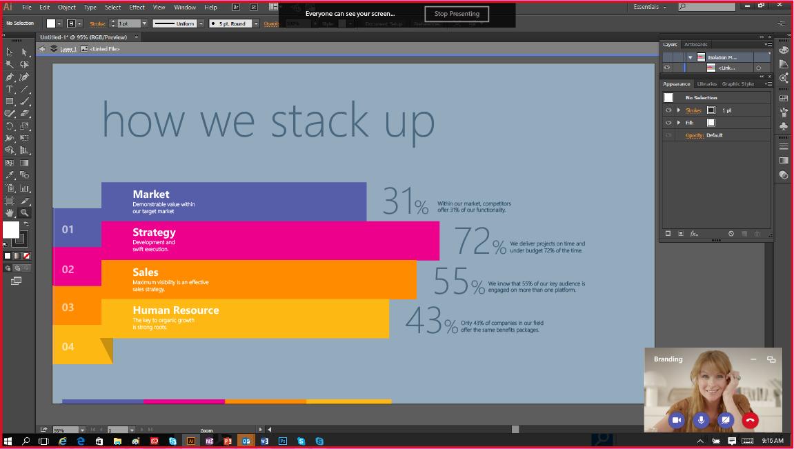 此螢幕擷取畫面顯示在視訊會議中分享螢幕。