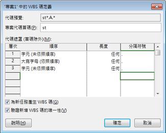 WBS 碼定義的對話方塊圖像